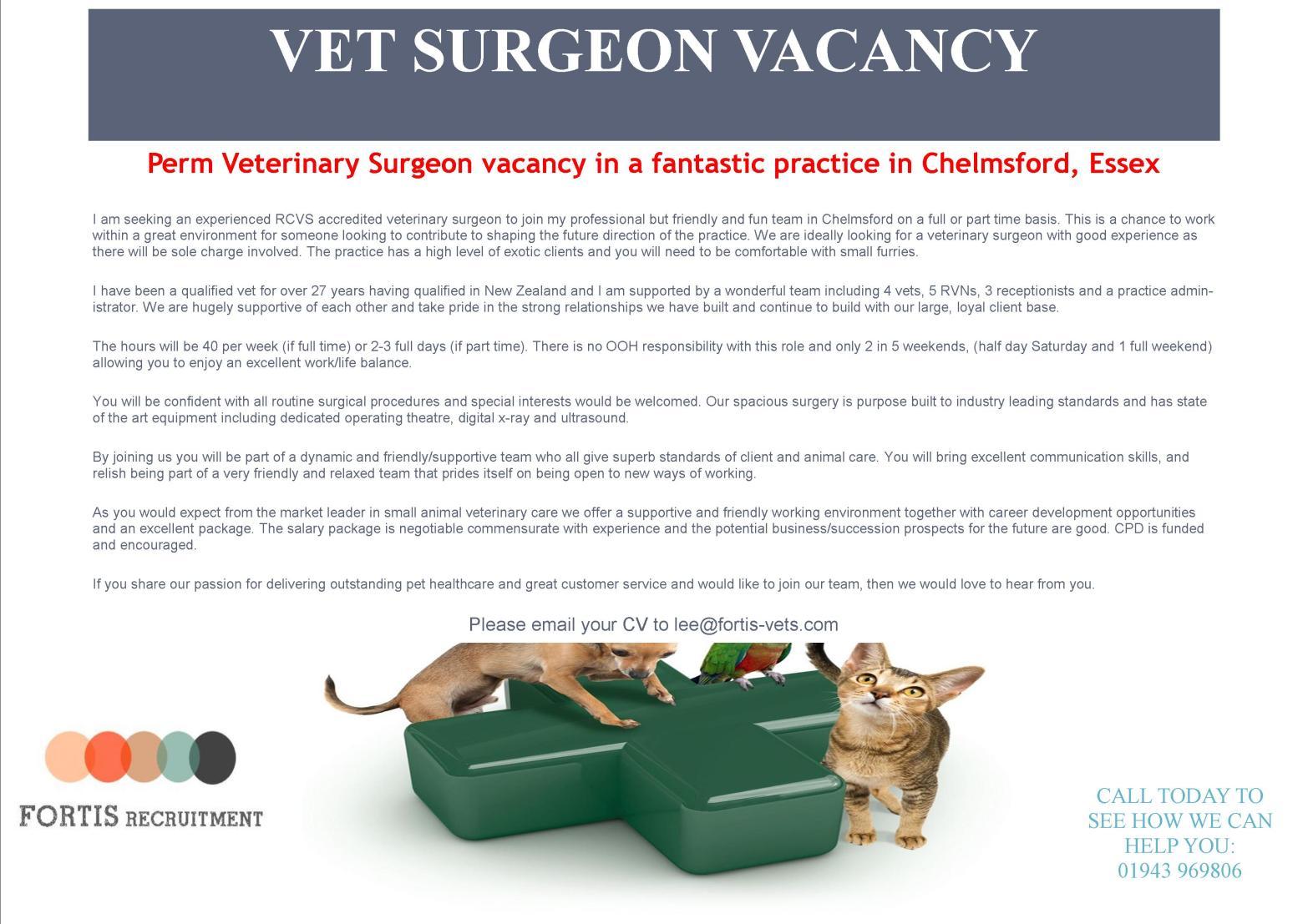 Perm Veterinary Surgeon vacancy in a fantastic practice in Chelmsford, Essex.jpg