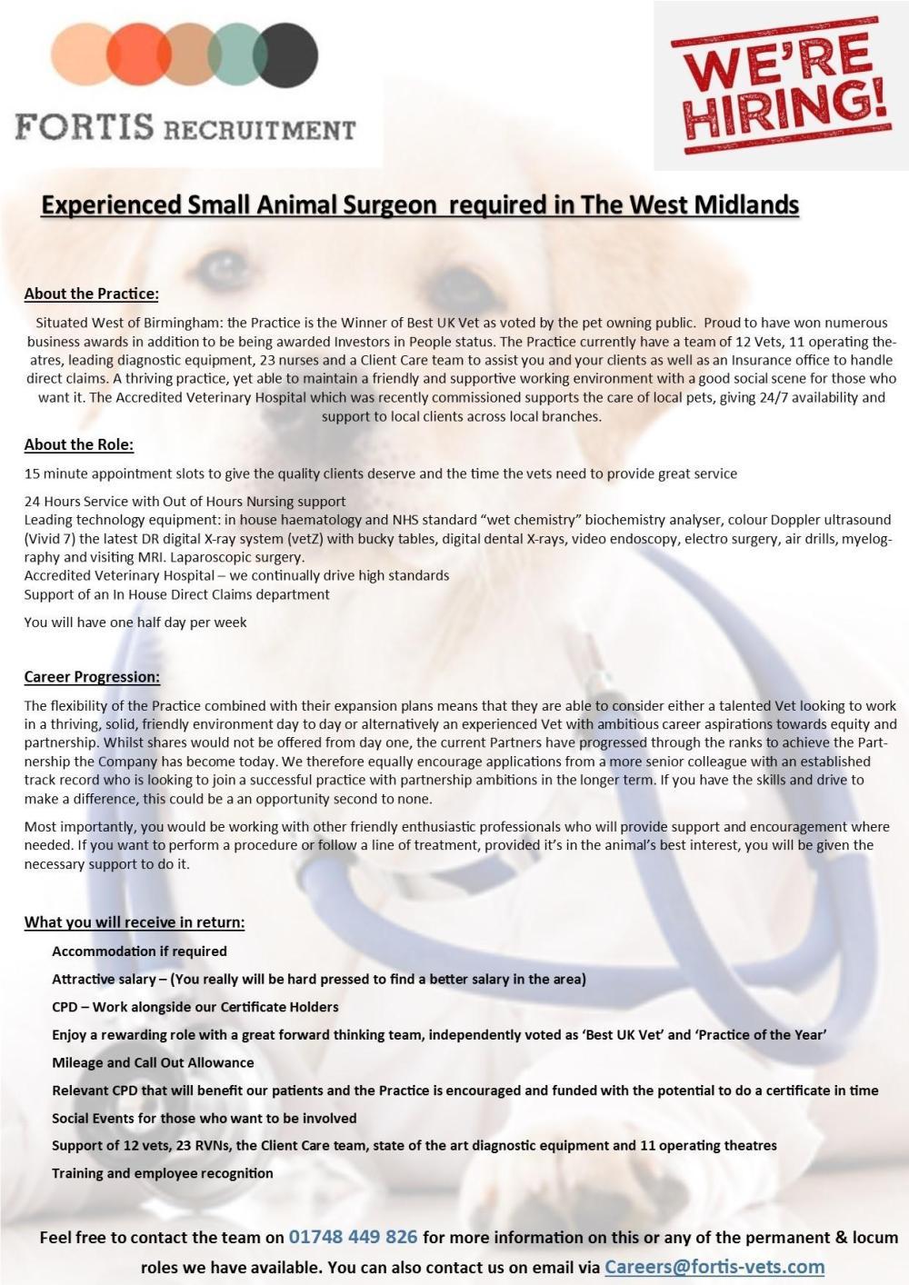Experienced vet surgeon - West Midlands
