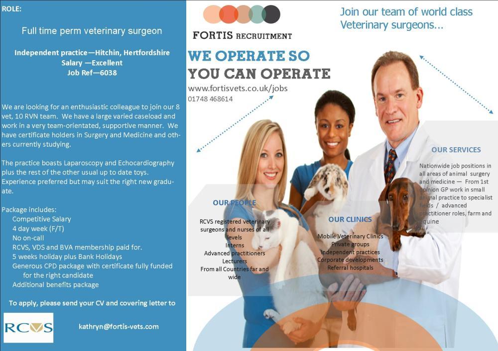 Vet Surgeon iIndependent practice—Hitchin, Hertfordshire - job ref 6038