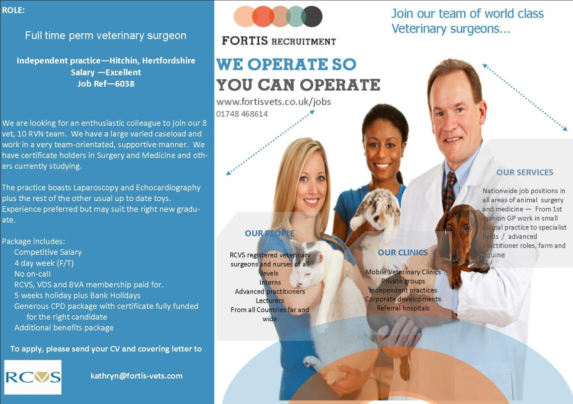 Vet Surgeon iIndependent practice—Hitchin, Hertfordshire - job ref 6038